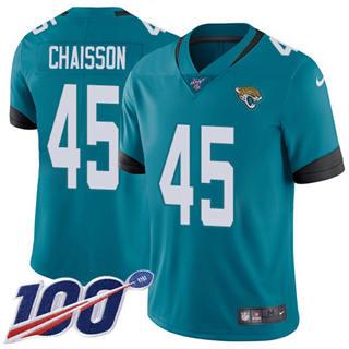 Men's Jaguars #45 K'Lavon Chaisson Teal Green Alternate Stitched Football 100th Season Vapor Untouchable Limited Jersey