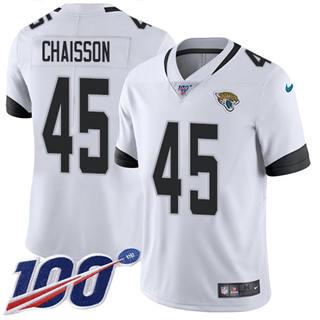 Men's Jaguars #45 K'Lavon Chaisson White Stitched Football 100th Season Vapor Untouchable Limited Jersey