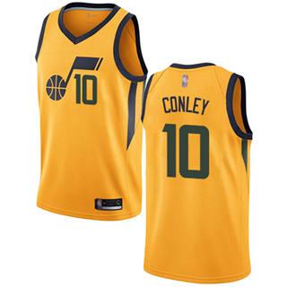 Men's Jazz #10 Mike Conley Yellow Basketball Swingman Statement Edition Jersey