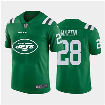 Men's Jets #28 Curtis Martin Green Football Team Big Logo Fashion Vapor Limited Jersey