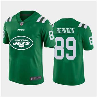 Men's Jets #89 Chris Herndon Green Football Team Big Logo Fashion Vapor Limited Jersey