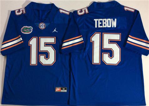 Men's Jordan Florida Gators Blue #15 TEBOW Stitched College Football Jersey