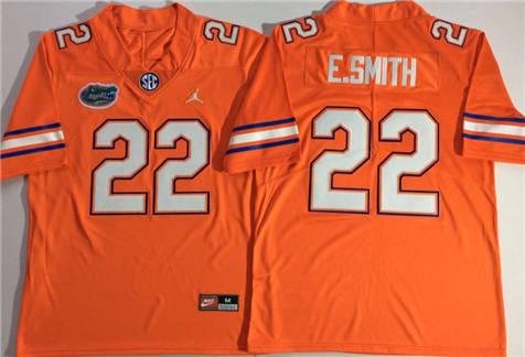 Men's Jordan Florida Gators Orange #22 E.SMITH Stitched College Football Jersey