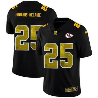 Men's Kansas City Chiefs #25 Clyde Edwards-Helaire Black Golden Sequin Vapor Limited Football Jersey