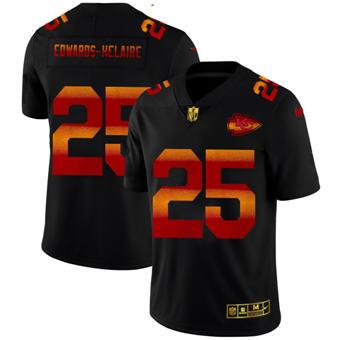 Men's Kansas City Chiefs #25 Clyde Edwards-Helaire Black Red Orange Stripe Vapor Limited Football Jersey