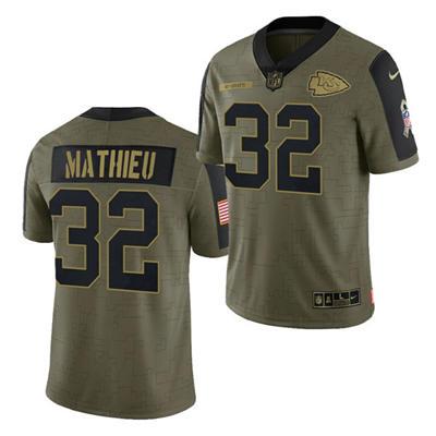 Men's Kansas City Chiefs #32 Tyrann Mathieu 2021 Olive Salute To Service Limited Stitched Football Jersey