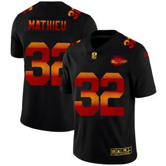 Men's Kansas City Chiefs #32 Tyrann Mathieu Black Red Orange Stripe Vapor Limited Football Jersey