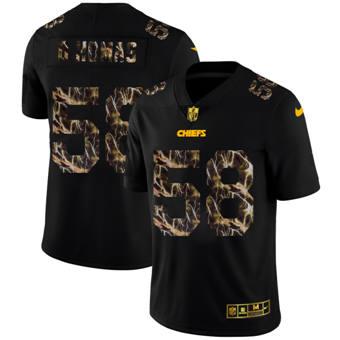 Men's Kansas City Chiefs #58 Derrick Thomas Black Flocked Lightning Vapor Limited Football Jersey