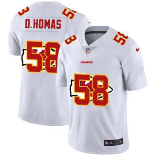 Men's Kansas City Chiefs #58 Derrick Thomas White Team Logo Dual Overlap Limited Football Jersey