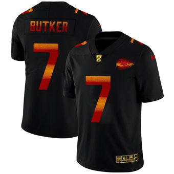 Men's Kansas City Chiefs #7 Harrison Butker Black Red Orange Stripe Vapor Limited Football Jersey