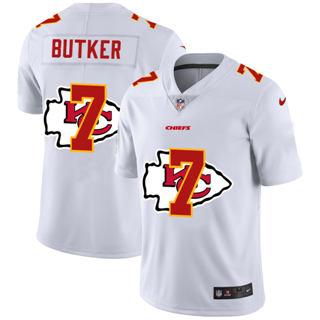 Men's Kansas City Chiefs #7 Harrison Butker White Team Logo Dual Overlap Limited Football Jersey