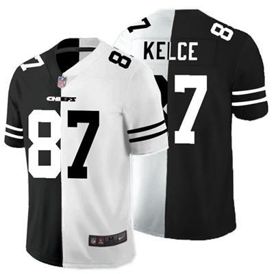 Men's Kansas City Chiefs #87 Travis Kelce Black White Split 2020 Stitched Football Limited Jersey
