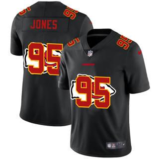 Men's Kansas City Chiefs #95 Chris Jones Team Logo Dual Overlap Limited Football Jersey Black