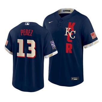 Men's Kansas City Royals #13 Salvador Perez 2021 Navy All-Star Cool Base Stitched Baseball Jersey