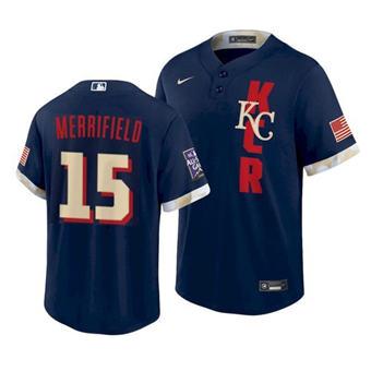 Men's Kansas City Royals #15 Whit Merrifield 2021 Navy All-Star Cool Base Stitched Baseball Jersey