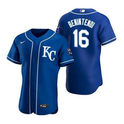 Men's Kansas City Royals #16 Andrew Benintendi Blue Stitched Baseball Jersey