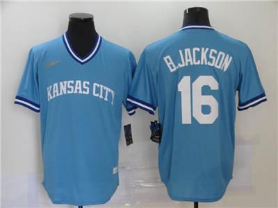 Men's Kansas City Royals #16 Bo Jackson 2020 Light Blue Cooperstown Collection Baseball Player Jersey