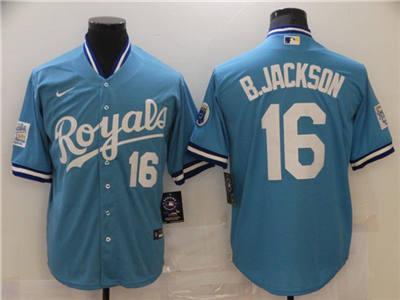 Men's Kansas City Royals #16 Bo Jackson Light Blue Stitched Baseball Jersey