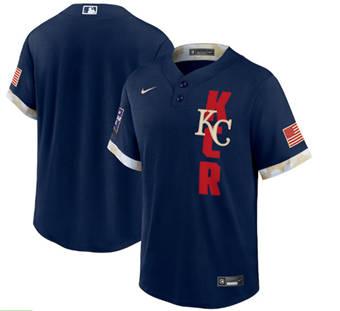 Men's Kansas City Royals Blank 2021 Navy All-Star Cool Base Stitched Baseball Jersey