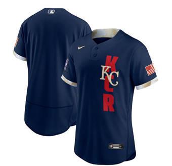Men's Kansas City Royals Blank 2021 Navy All-Star Flex Base Stitched Baseball Jersey