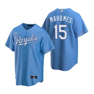 Men's Kansas City Royals Light Blue #15 Patrick Mahomes Stitched Baseball Jersey