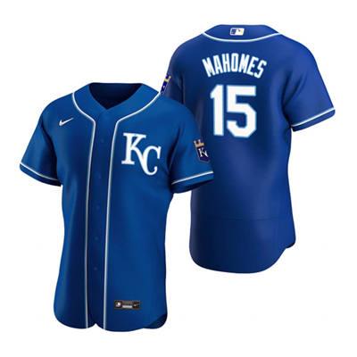 Men's Kansas City Royals Royal #15 Patrick Mahomes Flex Base Stitched Baseball Jersey