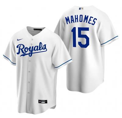 Men's Kansas City Royals White #15 Patrick Mahomes Stitched Baseball Jersey