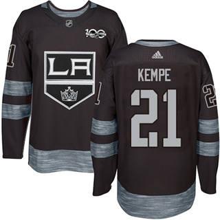 Men's Kings #21 Mario Kempe Black 1917-2017 100th Anniversary Stitched Hockey Jersey