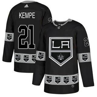 Men's Kings #21 Mario Kempe Black Authentic Team Logo Fashion Stitched Hockey Jersey