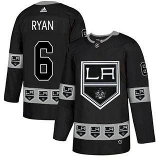 Men's Kings #6 Joakim Ryan Black Authentic Team Logo Fashion Stitched Hockey Jersey