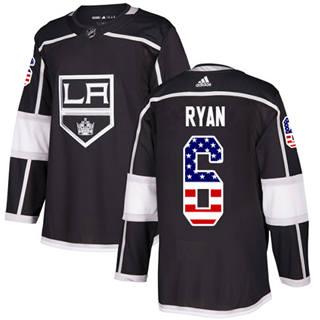 Men's Kings #6 Joakim Ryan Black Home Authentic USA Flag Stitched Hockey Jersey