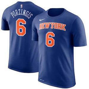 Men's Kristaps Porzingis New York Knicks  Name & Number Performance T-Shirt – Blue