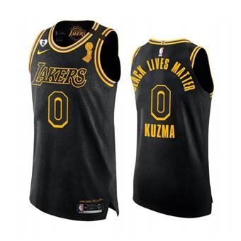 Men's LA Lakers #0 Kyle Kuzma 2020 Finals Champions Black Mamba Gigi Patch Jersey BLM Edition