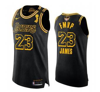 Men's LA Lakers #23 LeBron James 2020 Finals Champions Black Mamba  Gigi Patch Jersey FMVP Edition