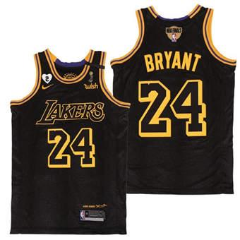 Men's LA Lakers #24 Kobe Bryant Black Mamba with Gigi Patch 2020 Finals Champions Jersey