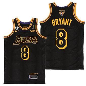 Men's LA Lakers #8 Kobe Bryant Black Mamba with Gigi Patch 2020 Finals Champions Jersey