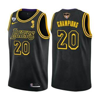 Men's LA Lakers Black Mamba Jersey #20 2020 Finals Champions with Gigi Patch