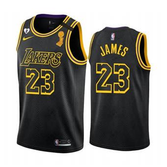 Men's LA Lakers Black Mamba Jersey #23 LeBron James 2020 Finals Champions with Gigi Patch