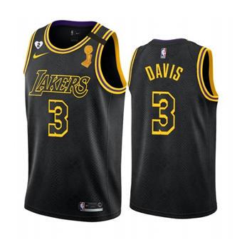 Men's LA Lakers Black Mamba Jersey #3 Anthony Davis 2020 Finals Champions with Gigi Patch