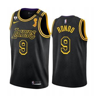 Men's LA Lakers Black Mamba Jersey #9 Rajon Rondo 2020 Finals Champions with Gigi Patch