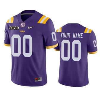 Men's LSU Tigers Custom Purple College Football 2020 National Champions Jersey