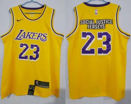 Men's Lakers #23 LeBron James Gold New 2020 Basketball Swingman Sicial Justice Jersey