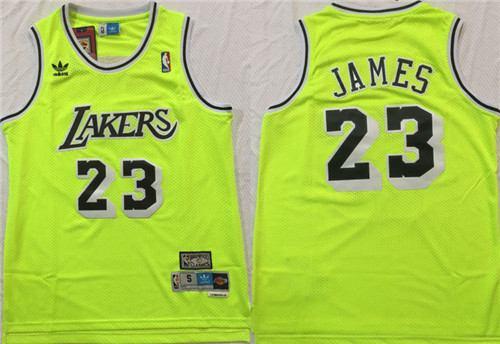 Men's Lakers #23 Lebron James Fluorescent Green Hardwood Classics Mesh Swingman Jersey