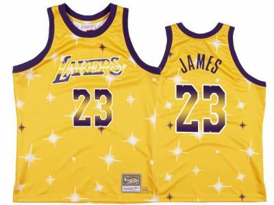 Men's Lakers #23 Lebron James Gold Star Fashion Hardwood Classics Basketball Jersey