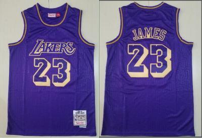 Men's Lakers #23 Lebron James Purple 1996-97 Hardwood Classics Stitched Basketball Jersey