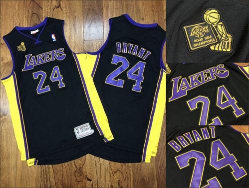 Men's Lakers #24 Kobe Bryant 2009 Champions Patch Black Stitched Hardwood Classics Jersey