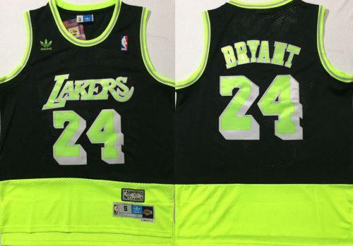 Men's Lakers #24 Kobe Bryant Black Green Stitched Hardwood Classics Basketball Jersey