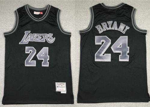 Men's Lakers #24 Kobe Bryant Black Silver Stitched Hardwood Classics Basketball Jersey