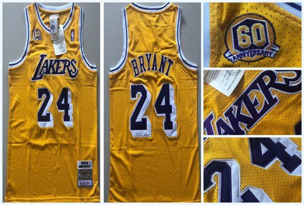 Men's Lakers #24 Kobe Bryant Gold 60th Anniversary 2007-08 Hardwood Classics Jersey
