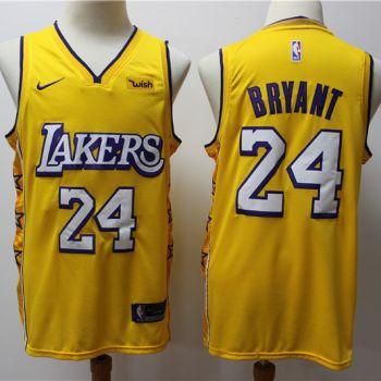Men's Lakers #24 Kobe Bryant Gold New 2019-2020 City Edition Swingman Basketball Jersey